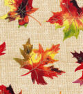 Harvest Cotton Fabric-Watercolor Glitter Leaves