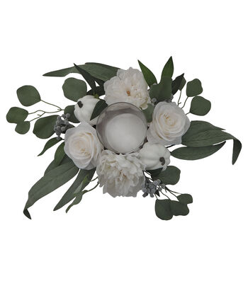Blooming Autumn Peony & Rose Candle Holder-Cream
