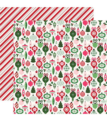 "Merry & Bright Double-Sided Cardstock 12""X12""-Trim The Tree"