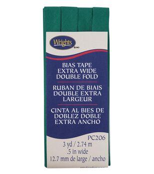 Wrights Extra Wide Double Fold Bias Tape 1/2''x3 yds-Irish Clover