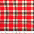 Shirting Cotton Flannel Fabric-Red, Green & Cream Plaid