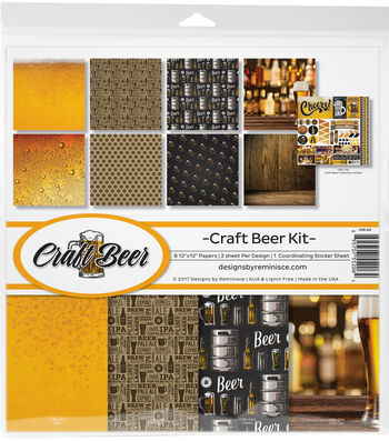 "Reminisce Collection Kit 12""X12""-Craft Beer, 8 Papers & Stickers"