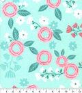 Nursery Flannel Fabric-Hanna Mint Pink Floral
