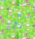 Easter Cotton Glitter Fabric 44\u0027\u0027-Fun Bunnies