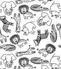 Nursery Flannel Fabric-Black & White Safari