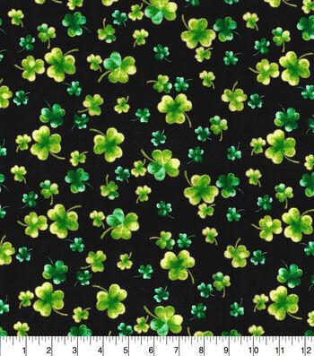 St. Patrick's Day Cotton Fabric-Shamrocks on Black Glitter