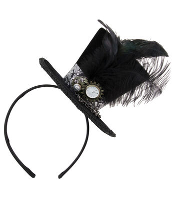 Maker's Halloween Steampunk Top Hat with Black Feathers & Silver Band