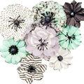 Prima Marketing Flirty Fleur Mulberry Paper Flowers 8/Pkg-Grey & Mint