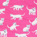 Blizzard Fleece Fabric-White Cats on Pink