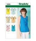 Simplicity Patterns Us1886H5-Simplicity Misses Tops Vests-6-8-10-12-14