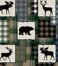 Snuggle Flannel Fabric-Bear Lake Patch on Blue