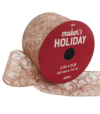 Maker's Holiday Christmas Sheer Ribbon 2.5''x25'-Rose Gold Swirls