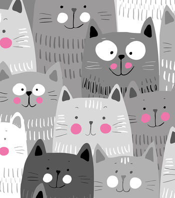 Anti-Pill Fleece Fabric -Happy Gray Cats