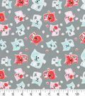 Snuggle Flannel Fabric 42\u0027\u0027-Stamped Cats on Gray