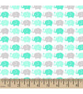 Snuggle Flannel Fabric 42\u0022-Elephant Parade Mint