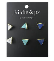 hildie & jo 3 Pack Triangle Gold Earrings, , hi-res