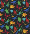Novelty Cotton Fabric-Colorful Dinos on Black