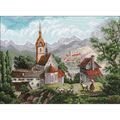RIOLIS 23.5\u0027\u0027x15.75\u0027\u0027 Counted Cross Stitch Kit-Monastery Shonenvert