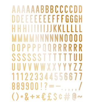 DCWV Home 148 Pack 2'' Letters-Gold