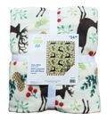 Christmas No Sew Throw Fleece Fabric Kit-Deer, Holly & Berries