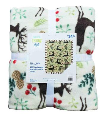 """No-Sew Throw Fleece Fabric 72""""-Deer & Holly Berries"""