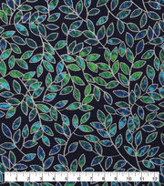Keepsake Calico Cotton Fabric-Metallic Navy Vines, , hi-res