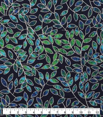 Keepsake Calico Cotton Fabric-Metallic Navy Vines