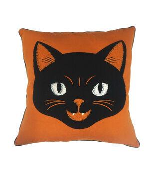 Maker's Halloween 18''x18'' Pillow-Black Cat
