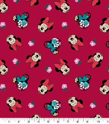"Disney Minnie Mouse Cotton Fabric 43""-Head Toss"