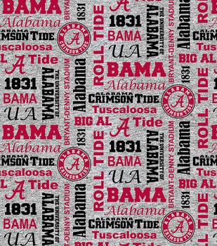 Alabama Crimson Tide Fleece Fabric-Verbiage on Heather