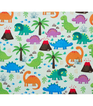Super Snuggle Flannel Fabric-Happy Dinos on Green