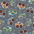 Super Snuggle Flannel Fabric-Monster Trucks Tossed