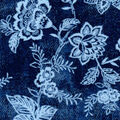 Luxe Flannel Fabric-Light Blue Floral on Denim