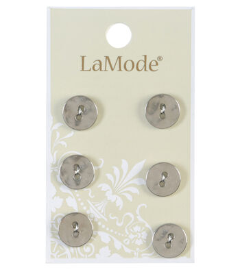 LaMode 2 Hole Silver Metal Buttons