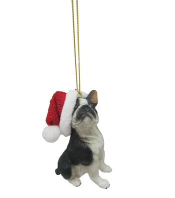 Maker's Holiday Christmas French Bulldog with Hat Ornament