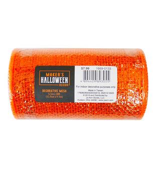 Maker's Halloween Decor Metallic Decorative Mesh 5.5''x30'-Orange