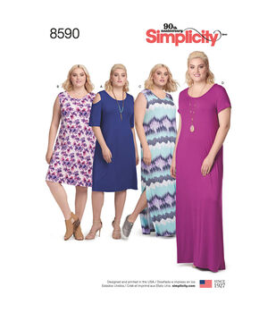 Simplicity Pattern 8590 Women's Knit Dresses-Size A (1XL-5XL)