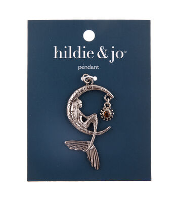 hildie & jo Zinc Alloy, Iron & Glass Moon with Beauty Pendant