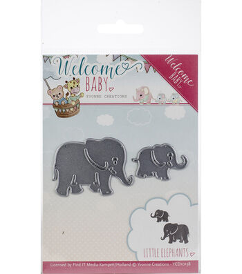 Find It Trading Yvonne Creations Welcome Baby Die-Little Elephants