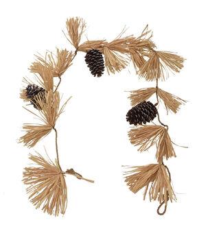 Blooming Autumn Corn Husk & Pinecone Garland-Natural