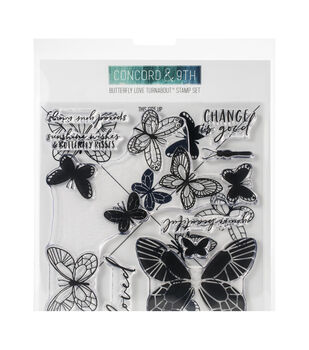 Concord & 9th Clear Stamps 6''X6'' Butterfly Love Turnabout