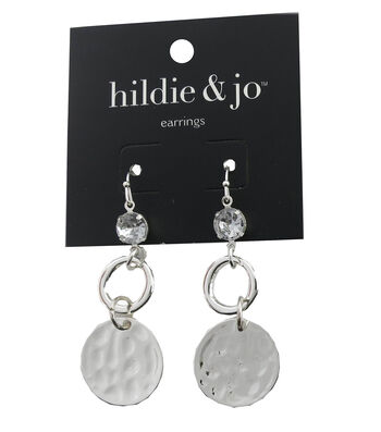 hildie & jo Circle Silver Dangle Earrings-Clear Crystal