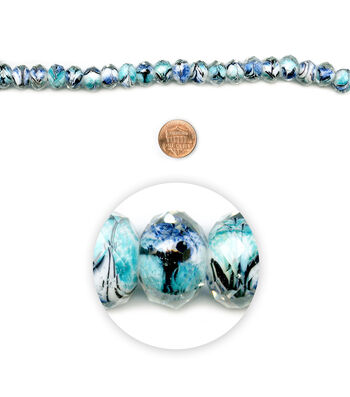 """Blue Moon Beads 7"""" Strand Facetted Rondelle Blue with Multi-Design core"""
