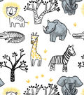Nursery Flannel Fabric -Yellow Safari