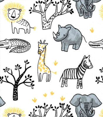 Nursery Flannel Fabric-Yellow Safari