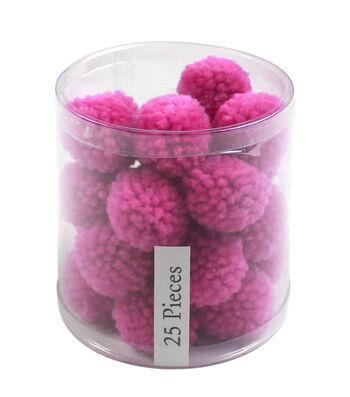 Simply Spring 25 pk 1'' Yarn Pom Poms-Purple