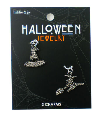 hildie & jo Halloween Hat & Witch on a Broom Charms