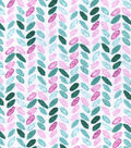 Snuggle Flannel Fabric -Pink Leaves