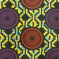 Cotton Shirting Fabric-Black Multi Zig Zag Circles