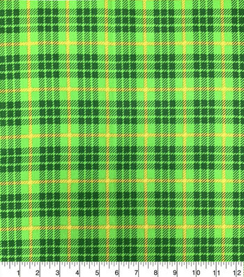 St. Patrick's Day Cotton Fabric-Large Plaid